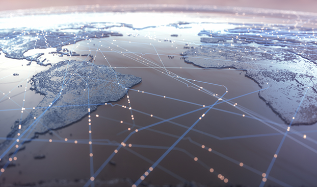 global image with lines and lights depicting and connecting worldwide locations