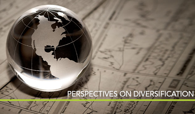 glass globe on investment paperwork, titled Perspectives on diversification